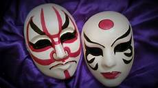 a girl and a boy kabuki mask design face paint in 2019