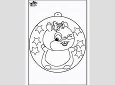 Kerstbal met hamster   Kleurplaten Kerst