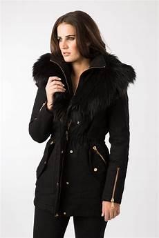 am black faux fur trim parka coat ebay