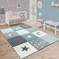 babyzimmer teppich kinderteppich karo mond sterne blau grau in 2020