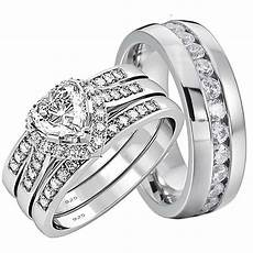 his and hers wedding rings 4 pcs engagement sterling silver stainless steel set ebay