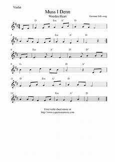 free printable violin sheet music muss i denn wooden heart