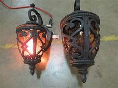 2 allen roth grandura h black iron base outdoor wall lights mn home outlet auction