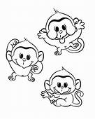 Three Funny Monkey Coloring Page  Download & Print Online