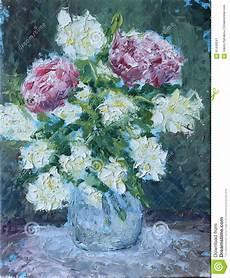 fiori in pittura fiori in una pittura a olio vaso illustrazione di