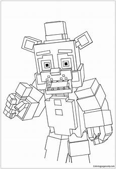 minecraft freddy coloring page free coloring pages