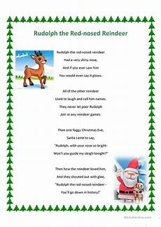 rudolph the nosed reindeer song and ws worksheet
