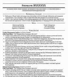 resume sumary for vendor management vendor management analyst resume sle livecareer