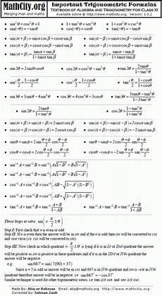trigonometric equations formulas trigonometric formulas mathcity org