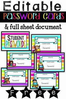 printable password card editable password cards classroom organization labels teacher freebies