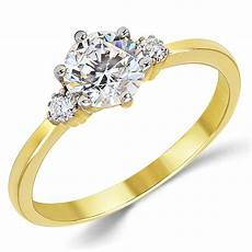 Gold Engagement Rings 14k solid yellow gold cz cubic zirconia three