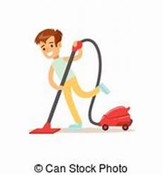 faire la poussière vector clipart of helping their parent cleaning house