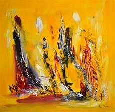 tableau abstrait contemporain jaune noir grand format