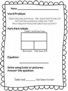 word problems worksheets for 1st grade 11213 1st grade word problems part part whole by math in md tpt