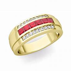 princess cut ruby diamond mens wedding band ring in 14k gold