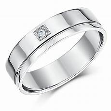 6mm 18ct white gold flat court diamond wedding ring 18ct