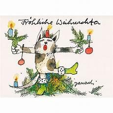 janosch weihnachtspostkarte katze mimt weihnachtsbaum