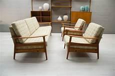 Ensemble De Salon Vintage Scandinave En Bois Et Tissu 1960