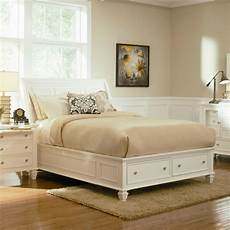 stylish soft white king storage sleigh bed bedroom furniture ebay