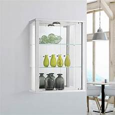 white wall mounted glass display cabinet with lighting displaysense