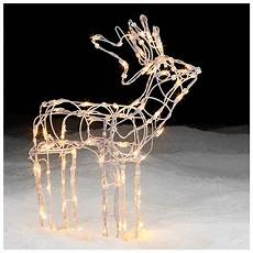 Lighted Decorations by Lighted White Wire Standing Deer Decor Shines At