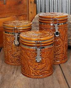 rustic kitchen canister sets tooled 3 canister set ranch house decor