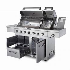 Kitchenaid Bbq Grill Home Depot by Kitchenaid 6 Burner Dual Chamber Propane Gas Grill In