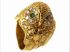 18ct Gold Owl Ring Set With Emeralds & Diamonds   The