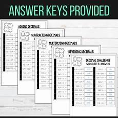 operations with decimals differentiated worksheets tpt