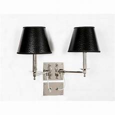 double swing arm wall light nickel with black mock croc shades