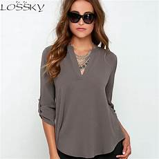 3 4 length sleeve tops 2017 big yard tops v neck chiffon blouses 3 4 sleeve