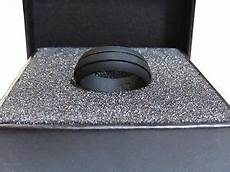 silicone mens wedding ring band black groove sizes 8 14