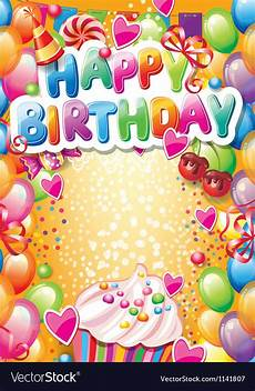 happy birthday card template for word template for happy birthday card with place for vector image