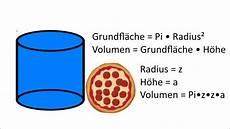 wissen wie berechnet das volumen einer pizza