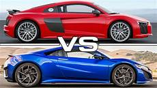 audi r8 v10 plus vs acura nsx youtube