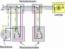 Wechselschaltung Mit Steckdosen Elektro Schaltplan