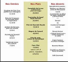 menu traditionnel français au restaurant du fle 6 le chef cuisinier propose un menu