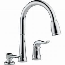 delta faucets kitchen delta kate single handle deck mounted kitchen faucet with soap dispenser reviews wayfair