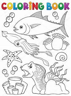 Malvorlagen Meerestiere Malbuch Meereslebewesen Thema 1 Vektorgrafik