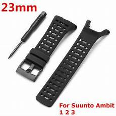 Black Silicone Band Suunto Ambit by 23mm Replacement Black Silicone Rubber Band