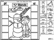 winter phonics worksheets 20073 phonics cut paste printables winter blends bundle by more than math by mo