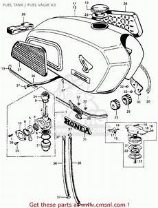honda cl350 scrambler 1971 k3 usa fuel tank fuel valve k3 schematic partsfiche
