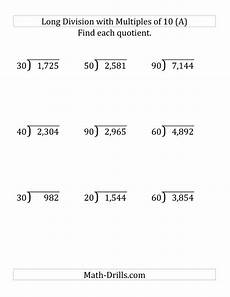 division decimals worksheets grade 5 7383 division by multiples of 10 with remainders large print with images division