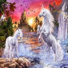 any color large unicorn wall castle and playful unicorns colorful wallpaper