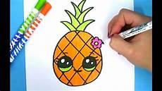 bilder zum nachmalen einfach kawaii ananas zeichnen ganz einfach