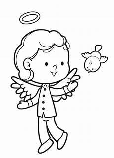 Engel Malvorlagen Zum Ausdrucken Jung Kostenlose Malvorlage Engel Engel Junge Und Vogel Zum