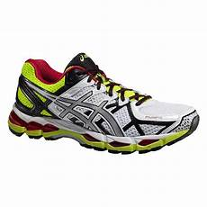 asics mens gel kayano 21 running shoes white yellow