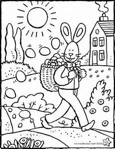 Osterhasen Malvorlagen Text Der Osterhase Verteilt Ostereier Kiddimalseite