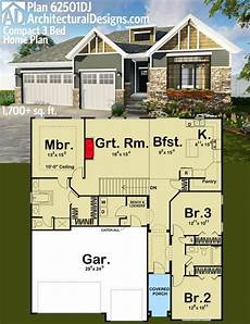 affordable house plan with over 1700 living sq architectural designs compact 3 bed house plan 62501dj