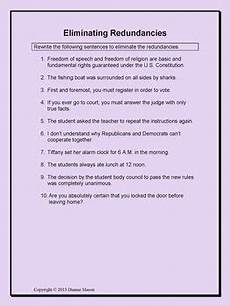 grammar redundancy worksheets 24955 exercises on redundancies parallel structure and variety lesson word choice sentence structure
